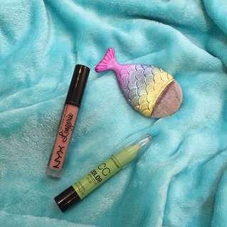 BUNDLE Nyx Lingerie, City Color Green Corrector stick, Mermaid Brush