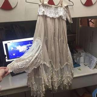 森女部落-不規則裙擺長裙