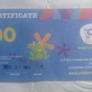500 peso Gift Certificate  CHildren Dental Center