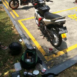"Bike Been Rescue (Yamaha X1R 135)             Location: Rivervale Drive (Carpark)             Time: 1.42pm (Afternoon)            Date: 11 Feb 18           Cause: Flat Tyre (Tyre Worming)           ""Kureiji Response Team""          Emergency Service"