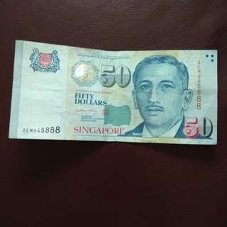 LHL Singapore $50 Portrait note with nice numbers 888