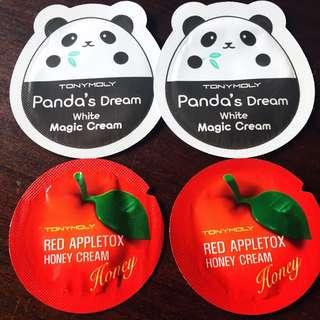 Tony Moly panda cream + Red Appletox honey cream