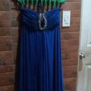 Long royal blue colored gown