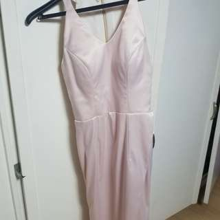 Nude with a hint of rose gold formal dress
