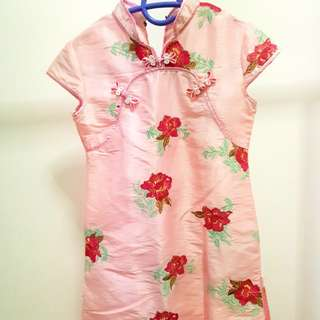 Red Embroidery flowers Girl Cheongsam size 10 🆓Shipping
