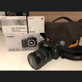 Canon 50D body, Canon 17-55mm f2.8 lens, Lens hood, Crumpler Bag set