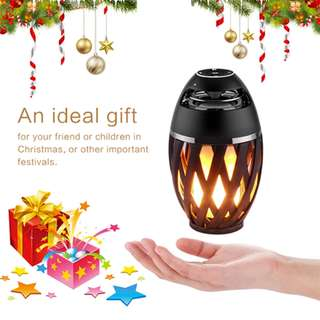 🚚 Valentine Gift 💜 LED Flame Table Lamp Bluetooth Speaker, Outdoor Portable Bluetooth Speaker &Torch Atmosphere Light USB Charging with LED Flickers Warm Yellow Dancing Light