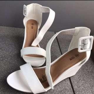 Kmart white wedge heels
