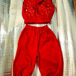 Red Girl/Boy Jumpsuit with golden beads aged 6-7 🆓 Shipping