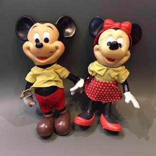 1970 年代 made in HongKong 香港製造 正版古董 迪士尼米奇美妮一對 約20cm高 $380