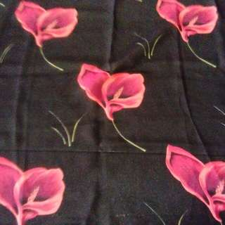 Polyester fabric-red flowers on black background
