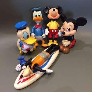 1970 年代 正版古董 迪士尼唐老鴨1對 米奇1對 高飛1隻 約12-15cm高 $380
