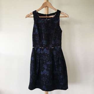 Alannah Hill / Lady In Waiting Frock / Dark Navy Floral Dress with multi-coloured lining / Formal / Semi formal / Cocktail / AU 6