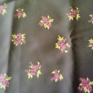 Brown fabric w pink & yellow flowers