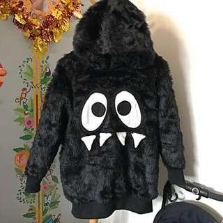 ❤️ mini cream black fur hyoma sweater 黑色毛毛有帽衛衣