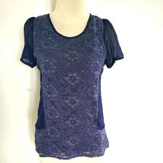 Blue navy embroidery blouse