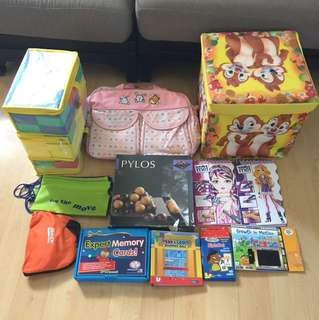 Bundle-bag, flash cards, memory cards, storage box, activity books, Pylos game, foam blocks etc
