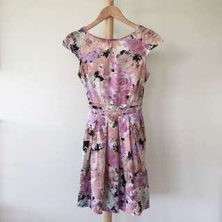Dorothy Perkins Pink Floral Fit and Flare Dress / AU 6 / XS