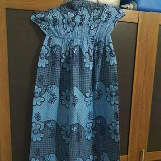 Preloved Dress Kemben Biru Fit to L Mat Katun