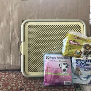 Training tray, pads and diapers, cage