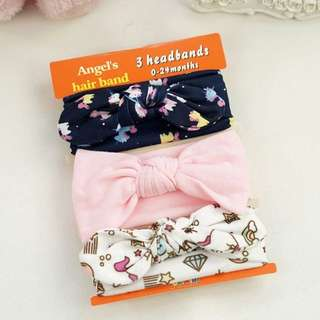 🐰Instock - 3pc assorted headband, baby infant toddler girl children glad cute 1234567789