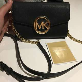 100% Authentic Michael Kors Black & Gold Wallet on Chain Phone Crossbody Bag