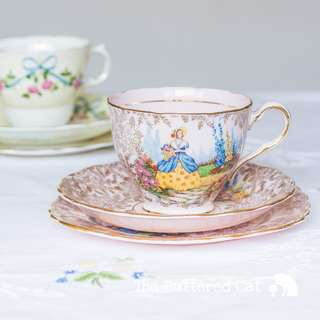 Pretty in pink vintage English crinoline lady trio