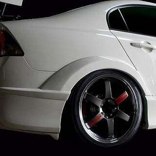 Civic Fd M&M Style Rear Fender Arch Add On. 4pc Set. Ready Stock In Carbon Fiber 1 Set. Not Js Racing Spoon Sports Mugen
