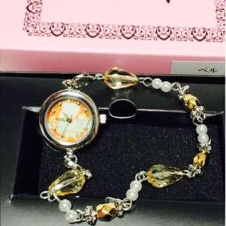 Disney迪士尼公主美女與野獸貝兒珍珠鑽石手鏈手錶