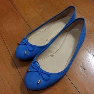 ZARA 藍 平底 包鞋 娃娃鞋 37號