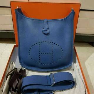 Hermes Evelyn PM III Blue Agate Clemence PHW #X