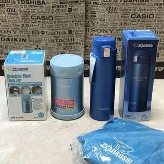 Blue Bundle: excellent zojirushi food jar 500ml and 480ml Mug (cold and hot)