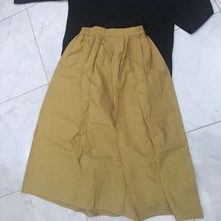 Midi skirt yellow