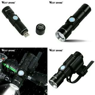 🆒🆕WEST BIKING Bike Light Ultra-Bright Stretch Zoom CREE Q5 200m Bicycle Front LED Flashlight Lamp USB Rechargeable Cycling Light