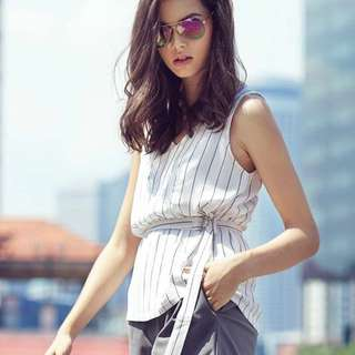 (BNWT) TCL Stripes Theory Top in White (size S)