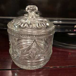 Vintage pressed glass container
