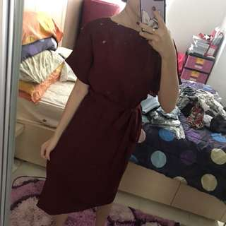 dress maroon ribbon