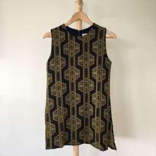 Vintage Black and Gold Dress / XS
