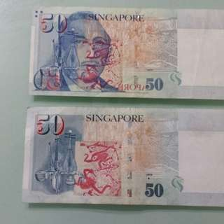 EXTREMELY RARE - ERROR PRINT $50 NOTE (2 YUSOF BIN ISHAK HEAD ON SINGLE NOTE)