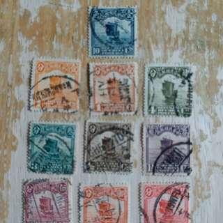 中國民國時期帆船已銷郵票10枚