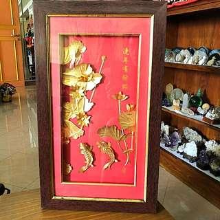 Antique 3D Gold Leaf Decor Wall Hanging