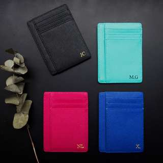 Black Saffiano Leather Personalised Cardholder