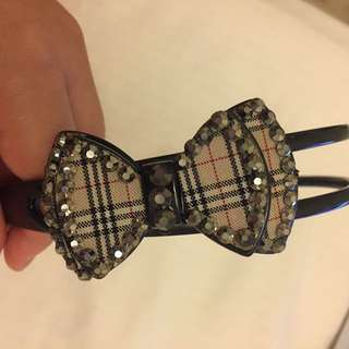Burberry-patterned bow headband