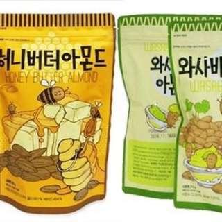 🚚 韓國熱銷 Toms Gilim 芥末杏仁果(特大包210g)/蜂蜜奶油杏仁果(特大包250g)