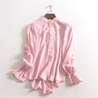 ❤️️  Bell sleeve gold button women blouse long sleeve pink shirt working