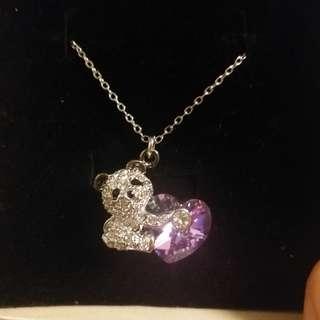 熊貓粉紫心形水晶頸鍊