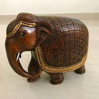 Auspicious wooden gold painted Elephant