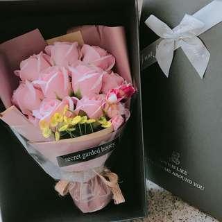 粉色香皂玫瑰花 情人節 情人節禮物