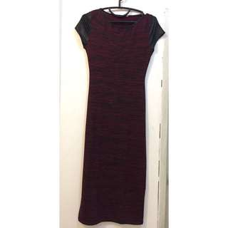 long dress merah maroon