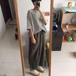 Ichi 墨綠小格紋薄毛料繭形褲
